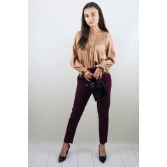 Bordowe spodnie materiałowe