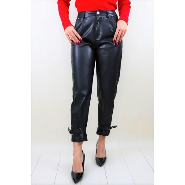 Skórzane spodnie z wiązaniami