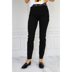 ESPERANTO spodnie damskie czarne z ozdobnym paskiem