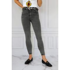 WHAT'S UP szare jeansowe spodnie damskie z paskiem
