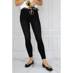 WHAT'S UP spodnie damskie jeansowe z paskiem