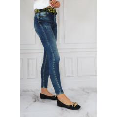 WHAT'S UP spodnie jeansowe damskie z ozdobnym paskiem