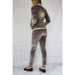 GIL SANTUCCI Welurowy komplet dresowy damski w kolorze cappucino