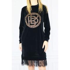 BABYLON Welurowa sukienka tunika damska z koronkową wstawką