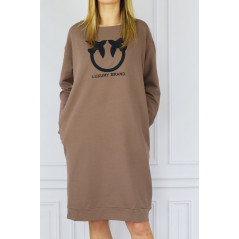 LETTICIA Sukienka damska Luxury Brand camel