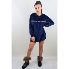 Niebieska bluza welurowa