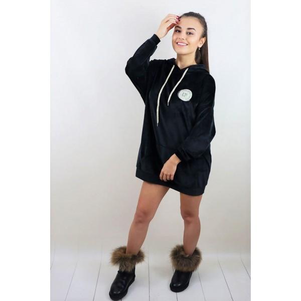 Czarna bluza welurowa
