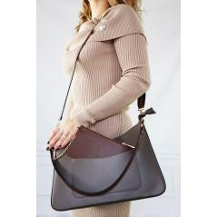 Skórzana Shopper Bag damska z dodatkową kieszonką brąz
