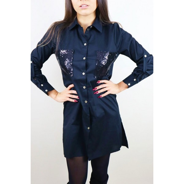 Koszulowa czarna sukienka