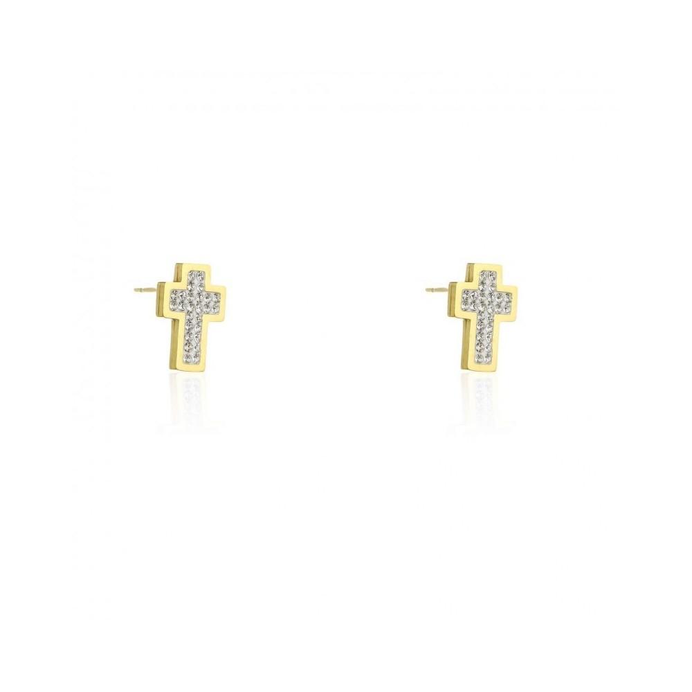 Kolczyki stal chirurgiczna złote krzyże z cyrkoniami sztyft KST1824