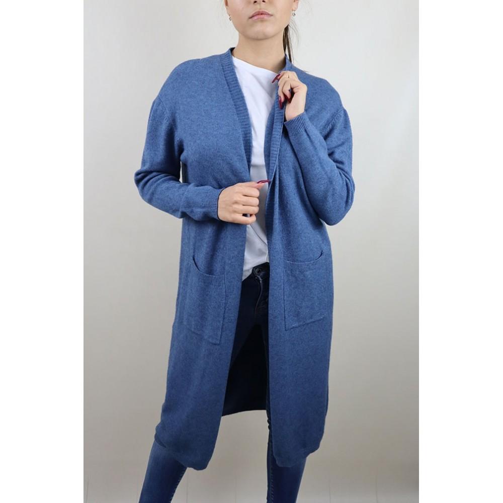 Niebieski długi kardigan