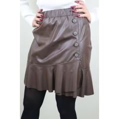 Skórzana brązowa spódniczka z guzikami
