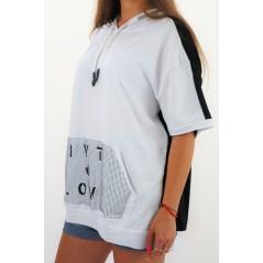 Bluza damska MEGI z krótkim rękawem i kapturem