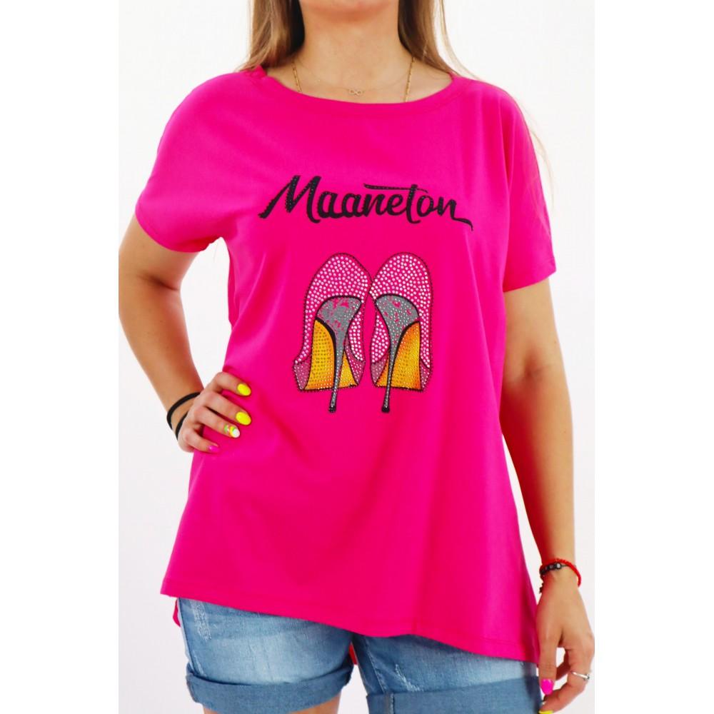 T-shirt damski MEGI fuksjowy z grafiką szpilek