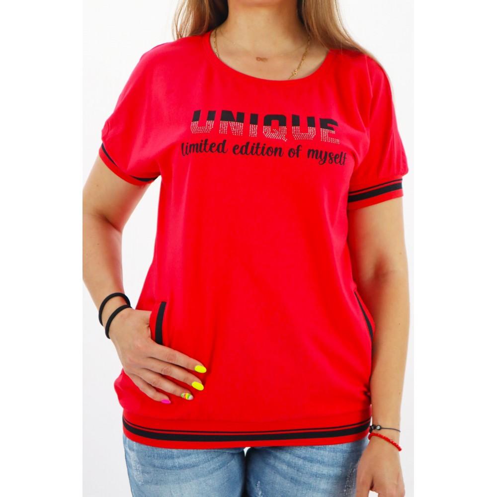 Czerwony t-shirt MEGI ze ściągaczami
