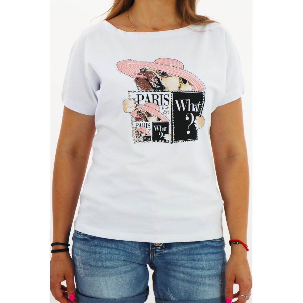 Biały t-shirt MEGI damski z ozdobnymi grafikami