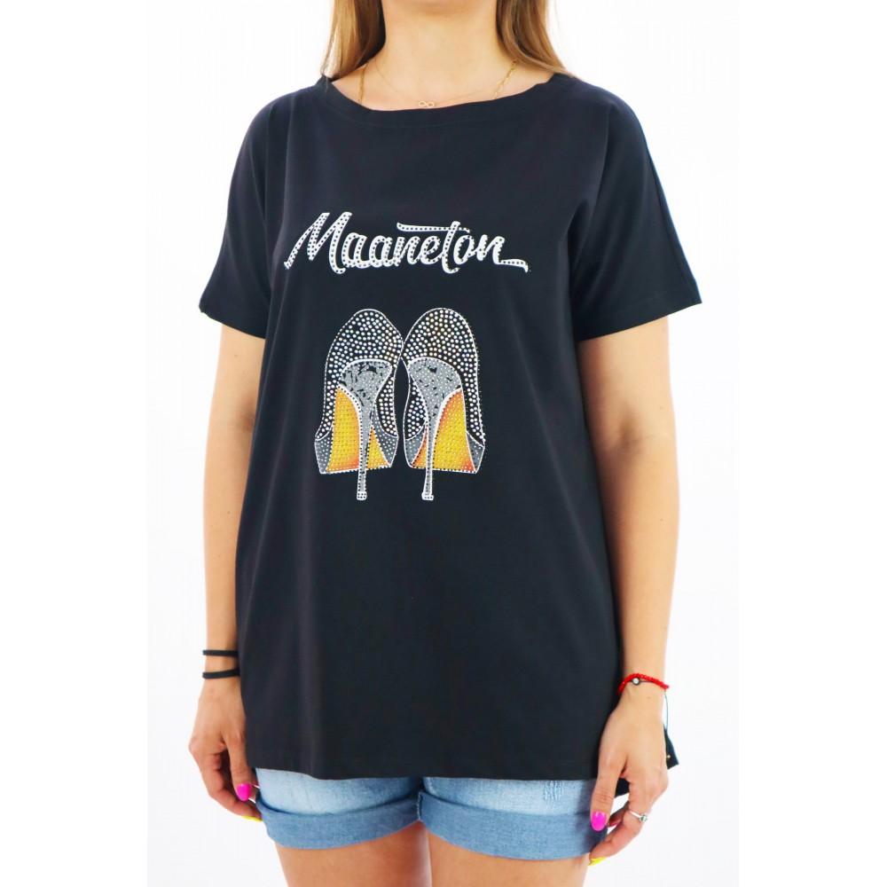 Czarny t-shirt MEGI oversize z grafiką szpilek