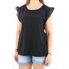 Czarna bluzka damska MEGI z falbanką na rękawach