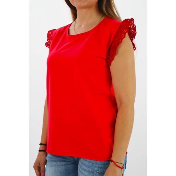 Czerwona bluzka damska MEGI z falbanką na rękawach