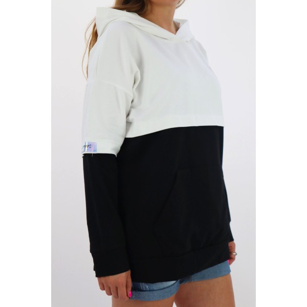 Bluza damska MEGI oversize z kapturem i czarnymi akcentami