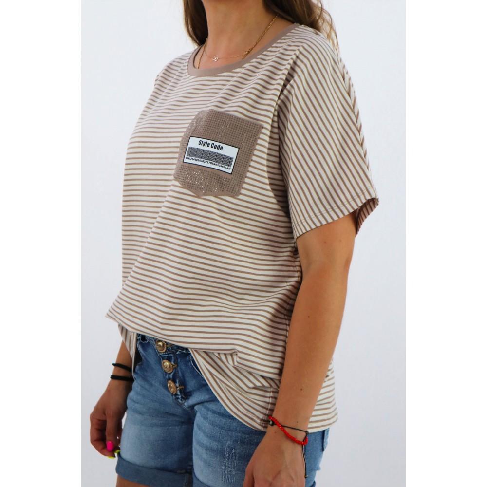 T-shirt damski overize w paseczki MEGI