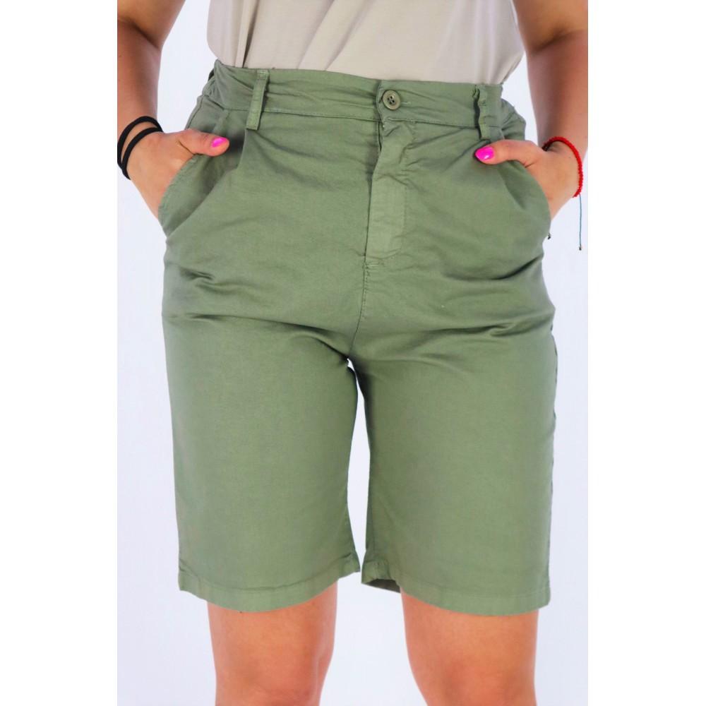 Spodenki bermudy damskie w kolorze khaki