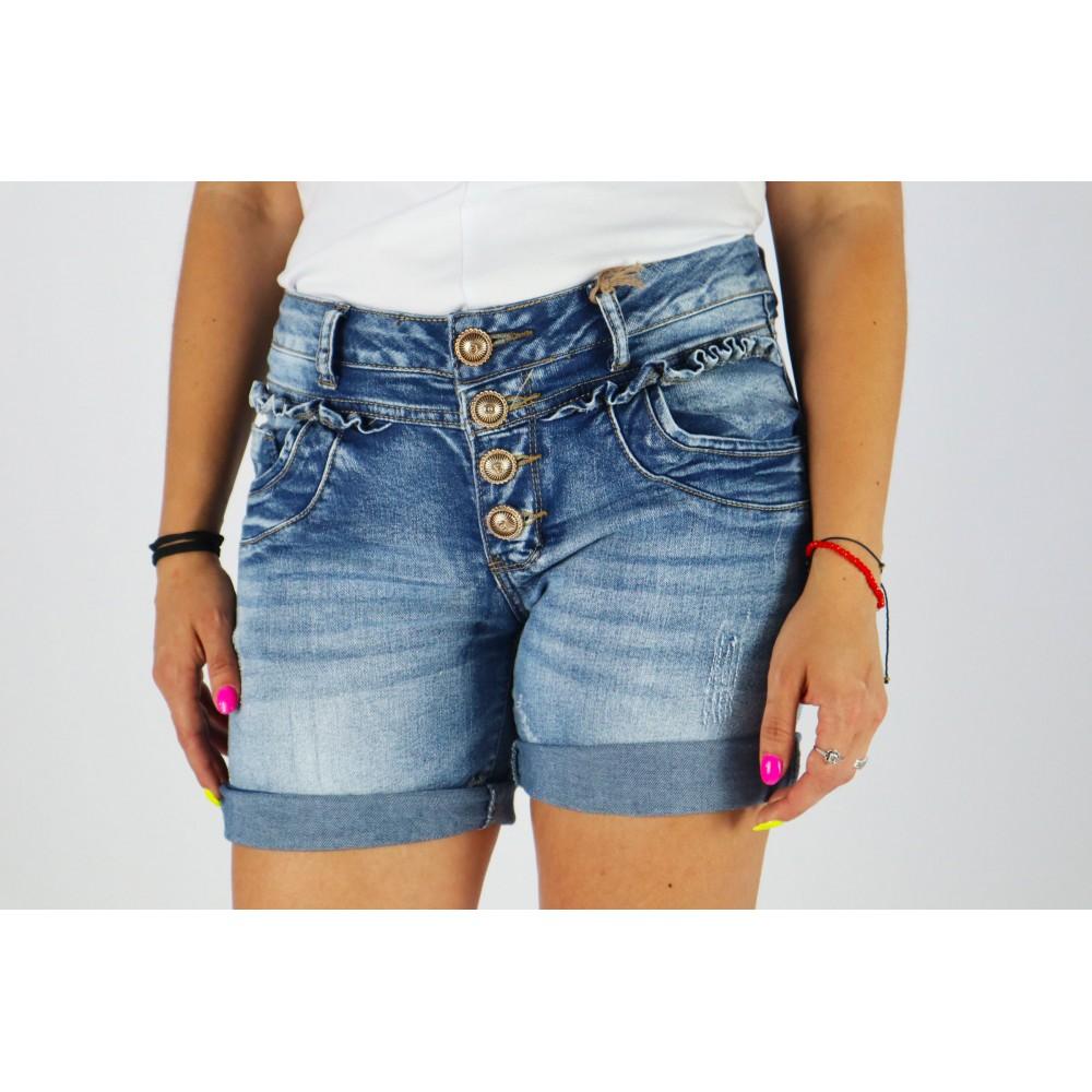 Spodenki jeansowe damskie z guziczkami