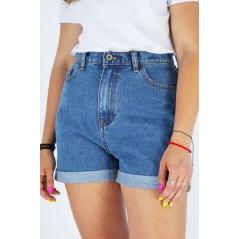 Spodenki jeansowe damskie niebieskie z podwijanymi nogawkami