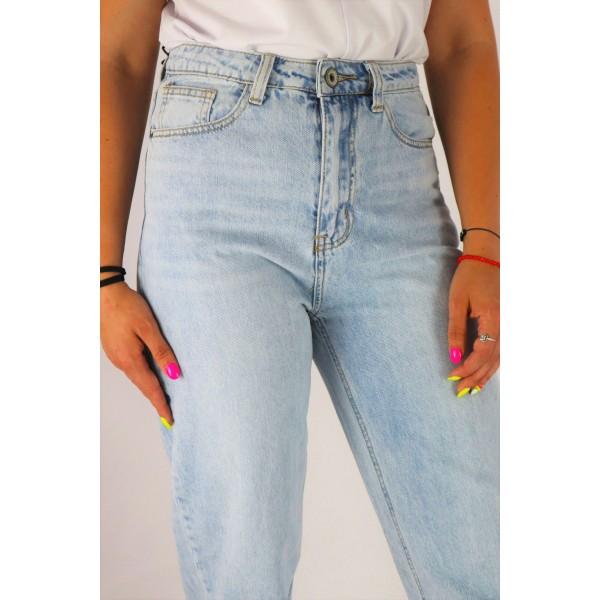 Boyfriendy spodnie jeansowe damskie jasnoniebieskie