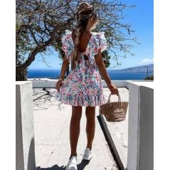 Kwiatowa sukienka damska z falbankami idealna na lato