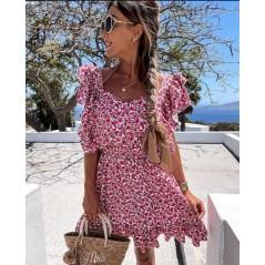 Kwiatowa sukienka damska letnia rozkloszowana