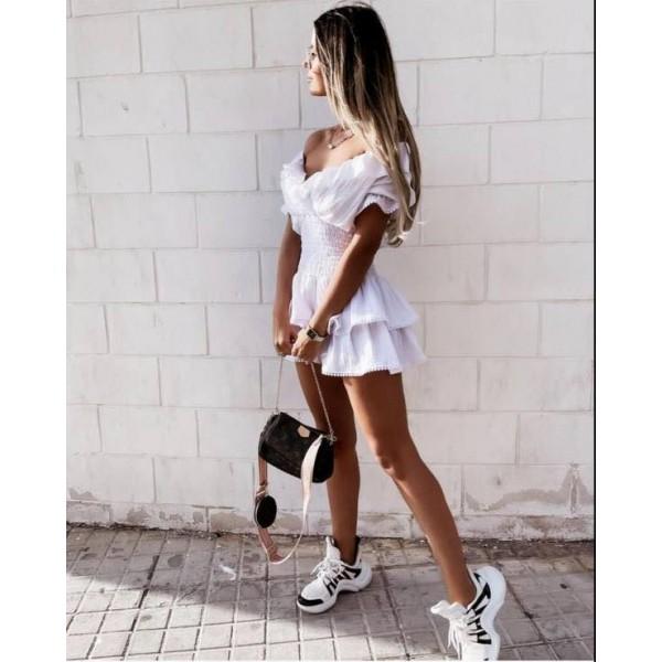 Hiszpanka biała sukienka damska rozkloszowana