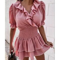 Hiszpanka sukienka różowa damska rozkloszowana