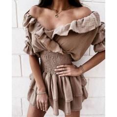 Hiszpanka nude sukienka damska rozkloszowana