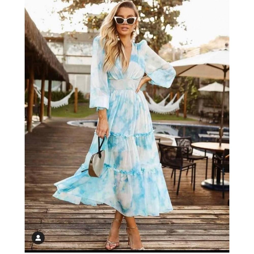 Maxi boho sukienka damska dekatyzowana