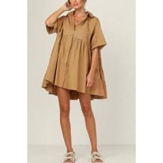 Sukienka damska oversize koszulowa idealna na plażę karmelowa