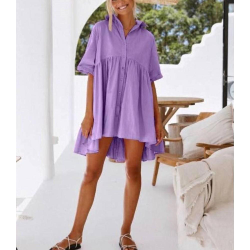 Sukienka damska oversize koszulowa idealna na plażę wrzosowa
