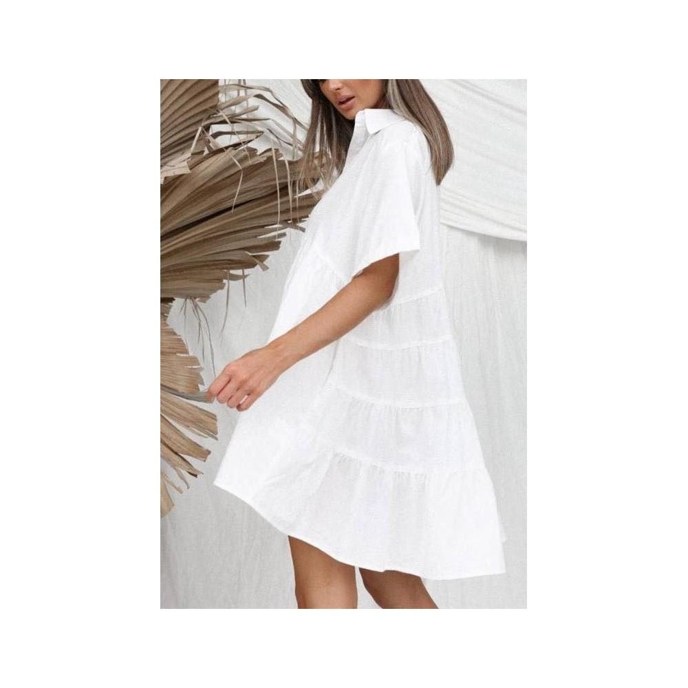 Sukienka damska oversize koszulowa idealna na plażę biała