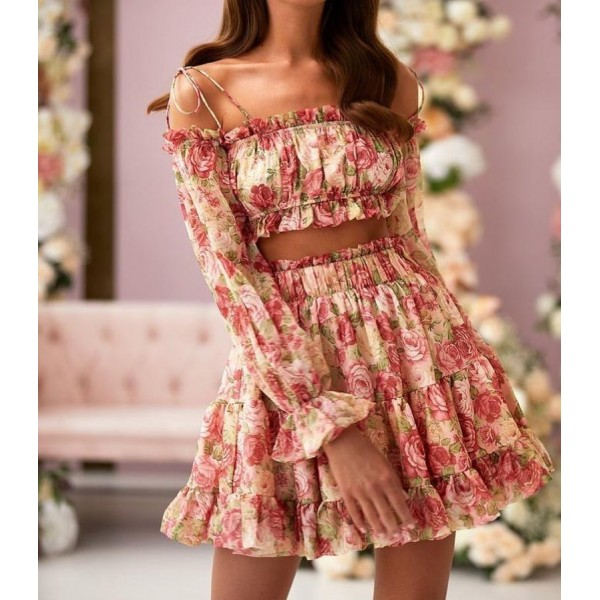 Kwiatowy komplet hiszpanka spódniczka i top idealny na lato