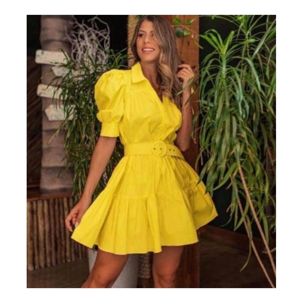 Żółta sukienka koszulowa rozkloszowana damska z paskiem