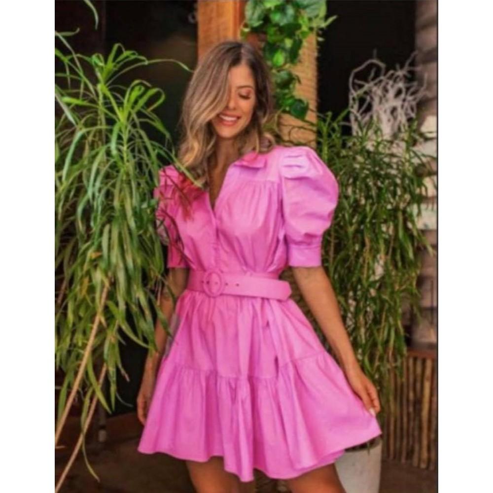 Sukienka koszulowa fuksjowa rozkloszowana damska z paskiem