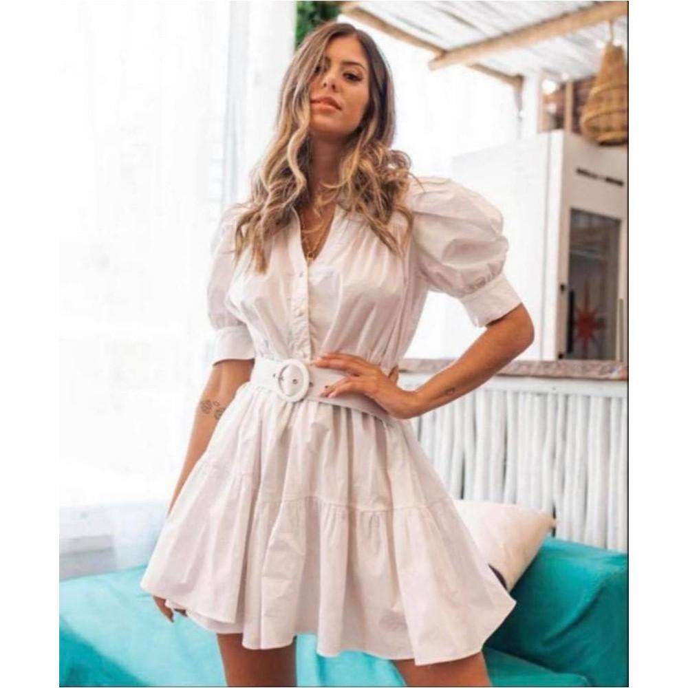 Sukienka koszulowa rozkloszowana damska z paskiem