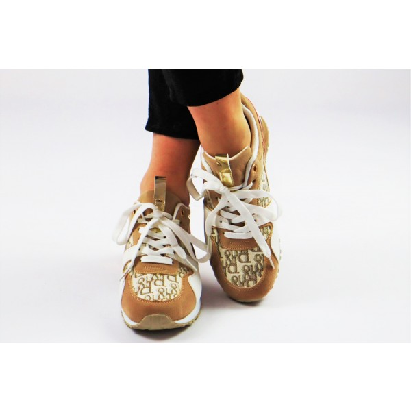 Sneakersy beżowo-białe z materiałowymi wstawkami