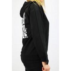 Czarna bluza z kapturem damska Megi z emblematem i dużą grafiką z tyłu