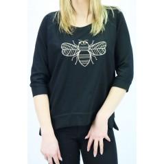 Czarny longsleeve damski Megi z wyhaftowaną pszczołą