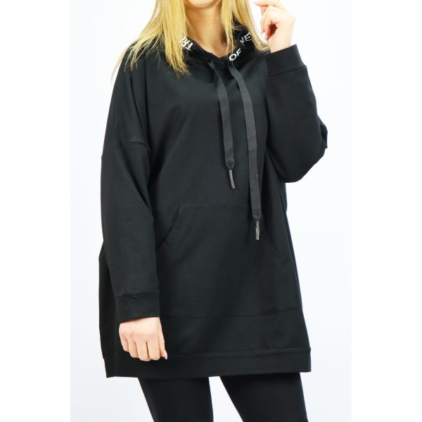 Czarna bluza damska Megi z dużymi grafikami Italy i ozdobnym grubym suwakiem