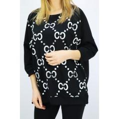 Czarna bluza damska Megi bomberka z grafikami skomponowanymi z małymi kwadracikami