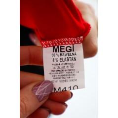 Czerwony longsleeve damski Megi ze srebrnymi lamówkami