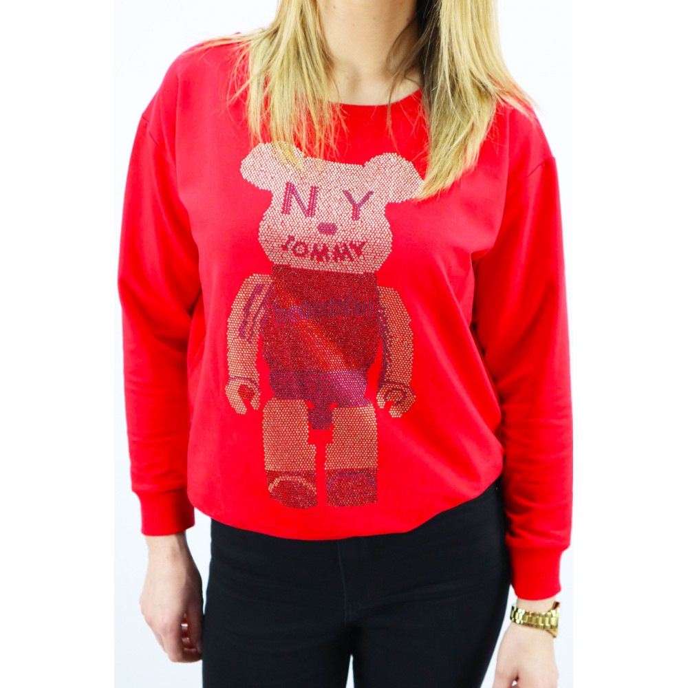 Czerwona bluza damska Megi z dużą grafiką misia