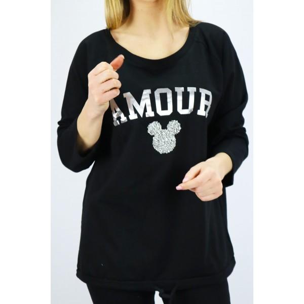 Czarny longsleeve damski Megi Amour ze srebrną grafiką Miki